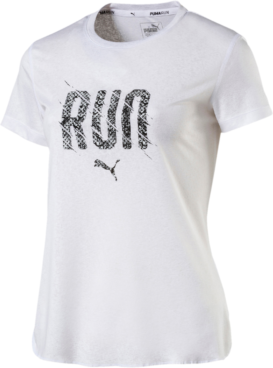 Футболка женская Puma Run S S Tee W, цвет: белый. 51627905. Размер XL (48/50) футболка женская puma s s logo tee w цвет темно оливковый 51667403 размер xl 48 50
