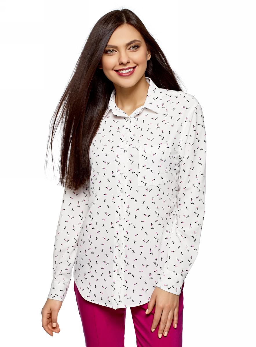Блузка женская oodji Ultra, цвет: белый, черный, графика. 11411134B/46123/1229G. Размер 40 (46-170) блузка женская oodji ultra цвет белый черный 11411129 45192 1229a размер 40 46 170
