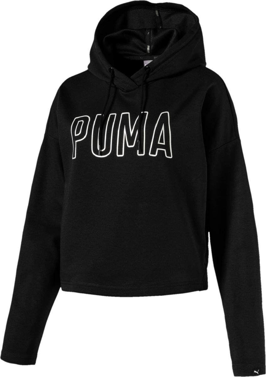 Худи женское Puma Fusion Hoody, цвет: черный. 85011201. Размер L (46/48) толстовка женская puma urban sports fz hoody цвет темно зеленый 59404414 размер m 44 46