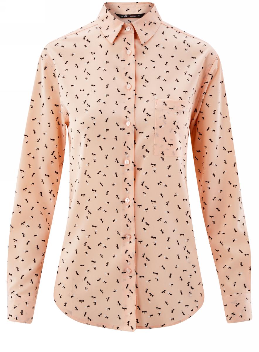 Блузка женская oodji Ultra, цвет:  светло-розовый, черный, графика.  11411134B/46123/4029G.  Размер 36 (42-170) oodji