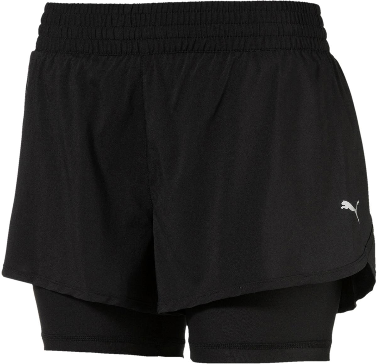 Шорты женские Puma Core-Run 2n1 3' Shorts W, цвет: черный. 51649401. Размер XL (48/50) шорты спортивные puma puma pu053ewqpb47