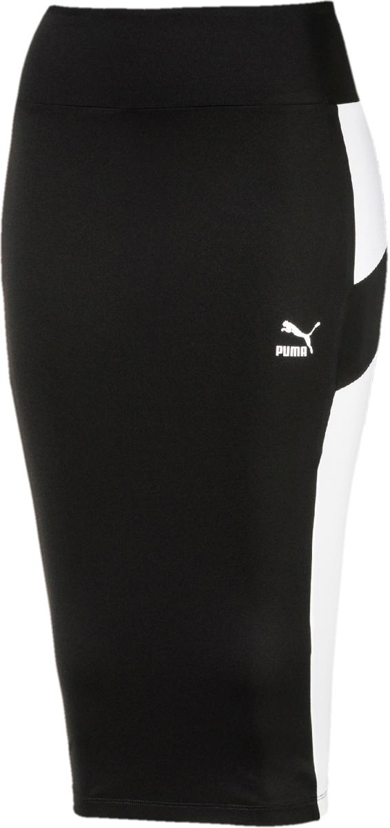 Юбка Puma Pencil Skirt, цвет: черный. 57607801. Размер S (42/44)57607801Стильная юбка-карандаш от Puma выполнена из полиэстера, эластана и джерси. Модель декорирована прорезиненным набивным логотипом винтажной коллекции Puma и имеет фасон в обтяжку по фигуре и надписью в виде названия бренда - сзади. Изделие посажено на пояс из эластичного материала и имеет вставки по бокам.