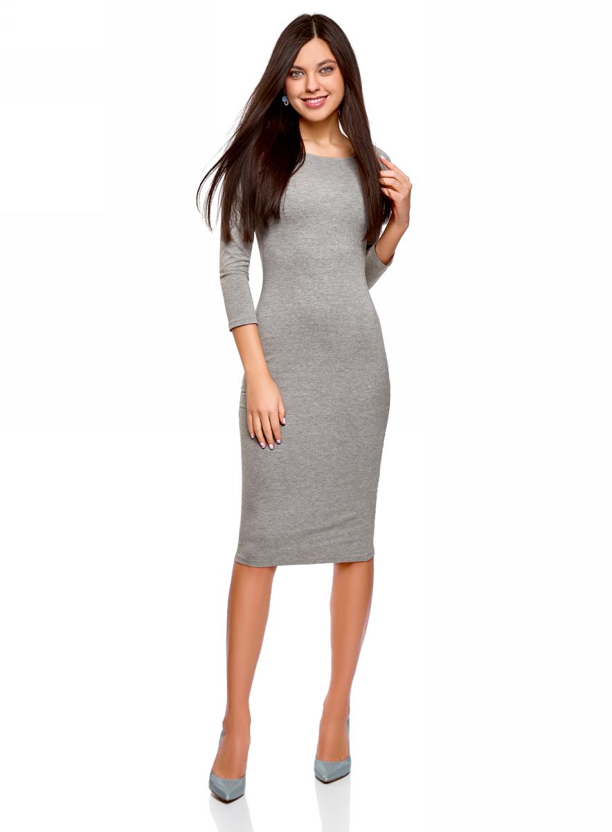 Платье oodji Ultra, цвет: серый меланж. 14017001-6B/47420/2300M. Размер XXL (52)14017001-6B/47420/2300MИзящное трикотажное платье облегающего силуэта с длинными рукавами выполнено из полиэстера с добавлением эластана. Платье эффектно сидит и отлично смотрится.