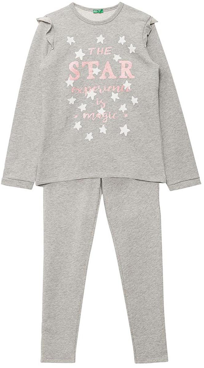 Пижама для девочки United Colors of Benetton, цвет: серый. 3J68Z11MN_501. Размер 130 пижама для мальчика united colors of benetton цвет серый 3j68z11ls 501 размер 100