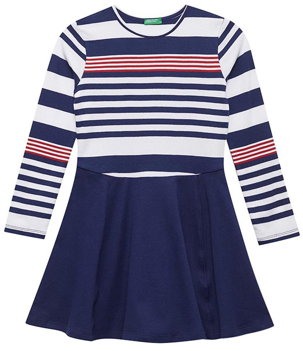Платье для девочек United Colors of Benetton, цвет: синий. 3XO9F11MF_901. Размер 1603XO9F11MF_901Платье для девочки от United Colors of Benetton выполнено из натурального хлопкового трикотажа. Модель с длинными рукавами и круглым вырезом горловины.