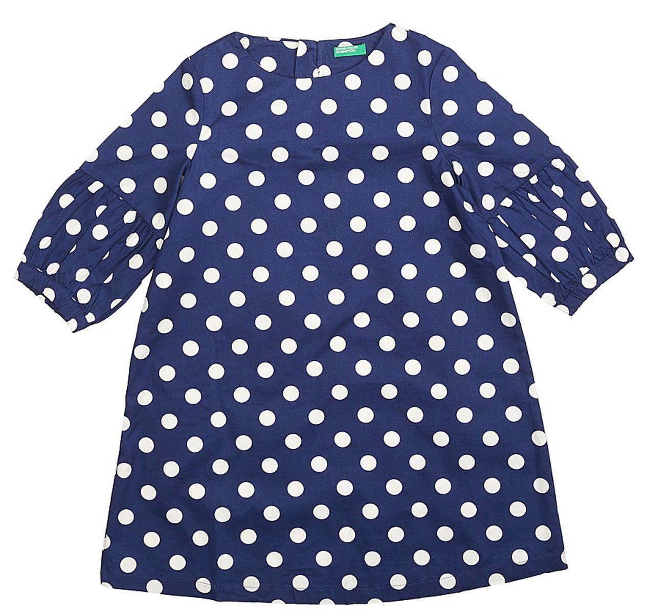 Платье для девочек United Colors of Benetton, цвет: синий. 4XU15V8M0_902. Размер 1204XU15V8M0_902Платье от United Colors of Benetton выполнено из натурального хлопка. Модель трапециевидного кроя с длинными рукавами и круглым вырезом горловины на спинке застегивается на пуговицы.