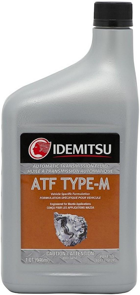 Масло трансмиссионное IDEMITSU, синтетическое, ATF Type M, 1 л10113-042PВысококачественная трансмиссионная жидкость, разработанная для применения в автоматических коробках передач легковых автомобилей, внедорожников и легких грузовиков Mazda и Ford, для которых требуется использование жидкости со спецификацией MAZDA ATF M-III ATF M-V.