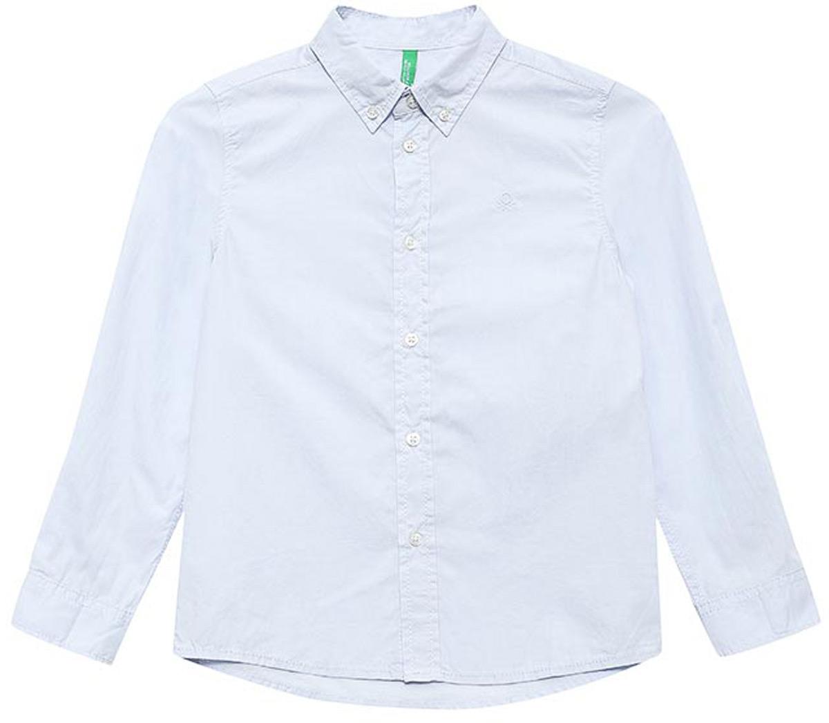 Рубашка для мальчиков United Colors of Benetton, цвет: голубой. 5EW75Q600_20B. Размер 1005EW75Q600_20BРубашка для мальчика United Colors of Benetton выполнена из натурального хлопка. Модель с отложным воротником и длинными рукавами застегивается на пуговицы.