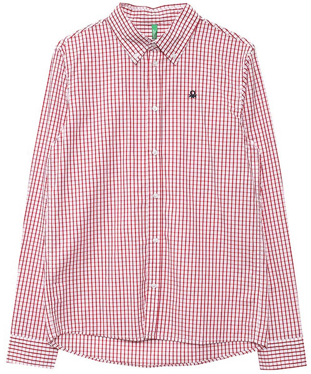 Рубашка для мальчиков United Colors of Benetton, цвет: красный, белый, клетка. 5DU65Q200_903. Размер 1305DU65Q200_903