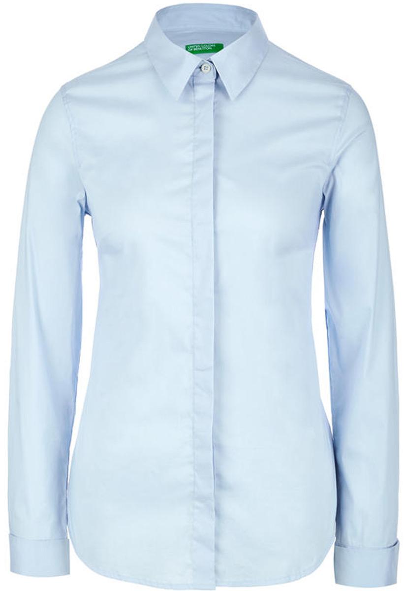 Рубашка женская United Colors of Benetton, цвет: голубой. 5AWR5Q6E3_80B. Размер XS (40/42)5AWR5Q6E3_80BРубашка женская United Colors of Benetton выполнено из качественного материала. Модель с отложным воротником застегивается на пуговицы.