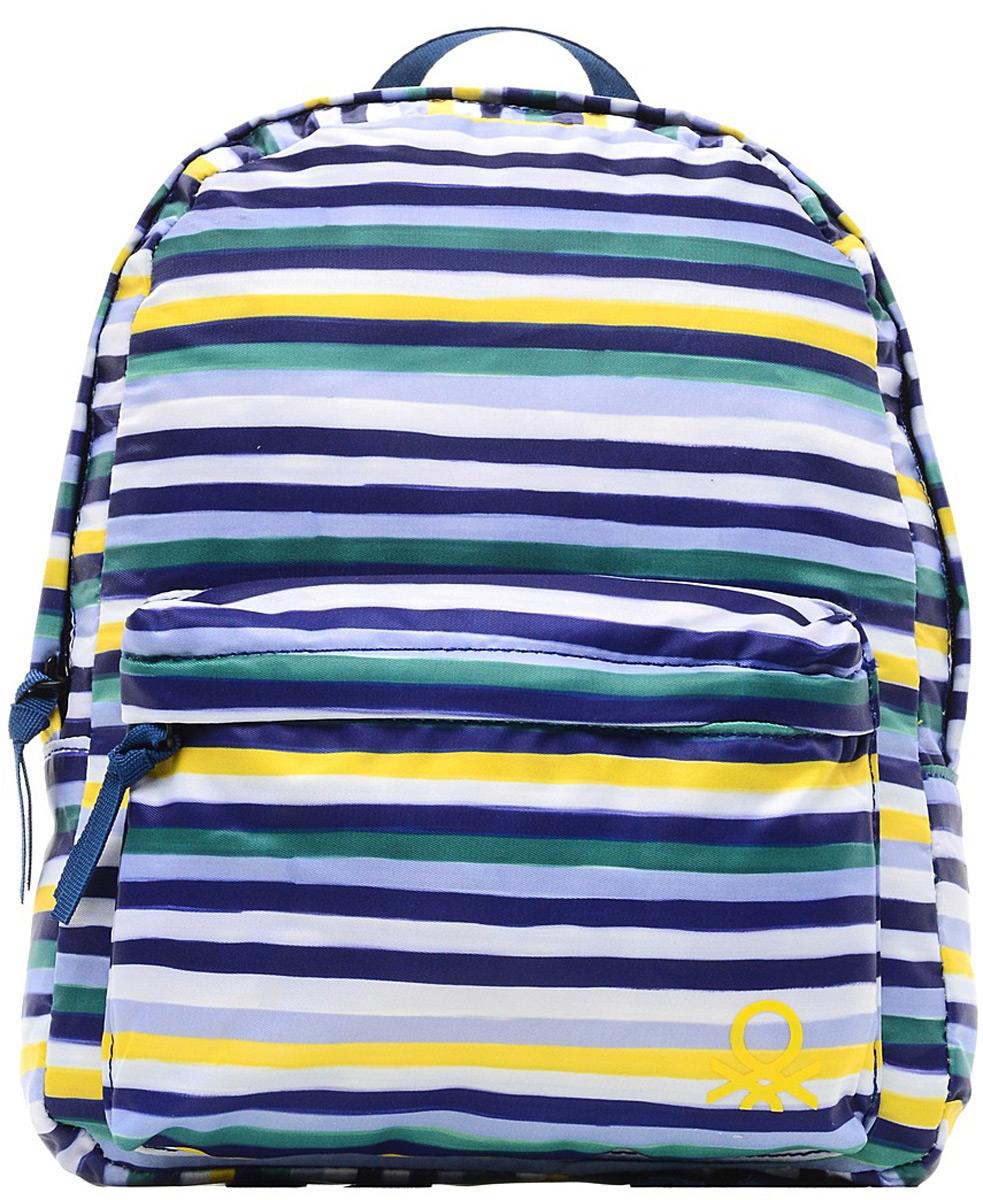 Рюкзак для мальчика United Colors of Benetton, цвет: синий, белый, желтый. 6GKKB11E9_9016GKKB11E9_901Женский рюкзак выполнен из полиэстера, имеет одно внутреннее отделение и внешний карман на молнии.