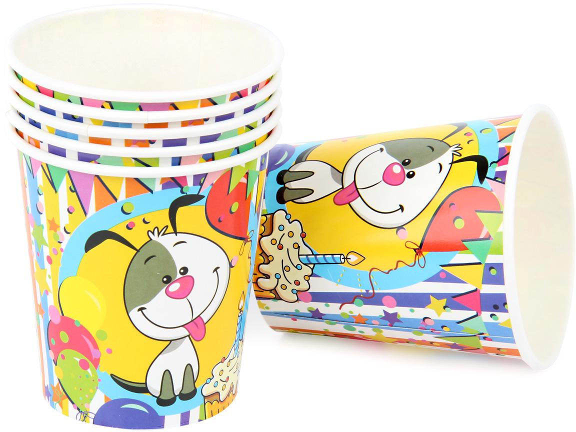 """Набор ярко окрашенных праздничных стаканов """"Счастливый Шарик"""" поможет украсить праздники и пикники. Стаканы выполнены из картона.  В комплекте 6 штук."""