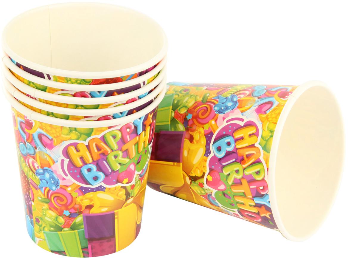 """Набор ярко окрашенных праздничных стаканов """"Карамелька"""" поможет украсить праздники и пикники. Стаканы выполнены из картона.  В комплекте 6 штук."""