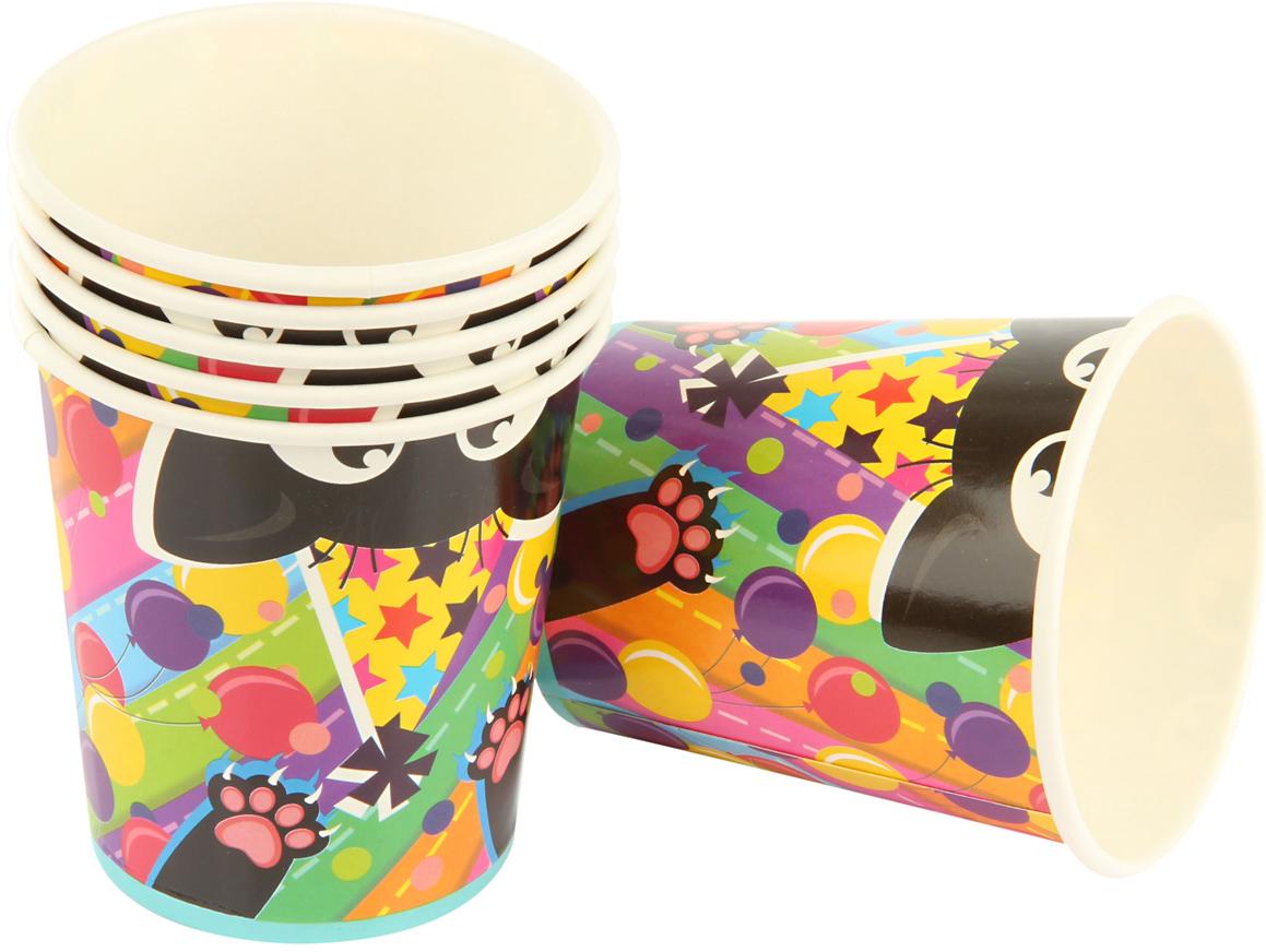"""Набор ярко окрашенных праздничных стаканов """"Разноцветные котики"""" поможет украсить праздники и пикники. Стаканы выполнены из картона.  В комплекте 6 штук."""