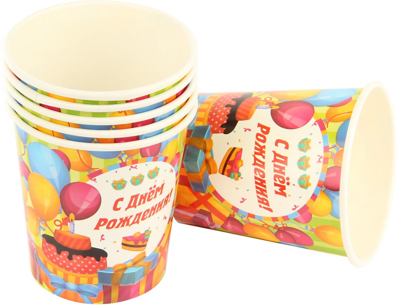 """Набор ярко окрашенных праздничных стаканов """"С Днем Рождения"""" поможет украсить праздники и пикники. Стаканы выполнены из картона.  В комплекте 6 штук."""