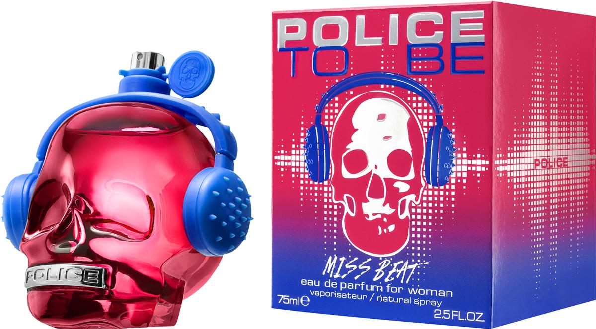 Police Парфюмерная вода To be Miss Beat, 75 мл1691081To Be Miss Beat - яркий, сочный, проникнутый духом молодости, энтузиазма и ритмов современной музыки, восточно-цветочный женский парфюм. Традиционно парфюм «одет» во флакон в виде черепа, но на этот раз он имеет красный цвет и украшен синими наушниками.