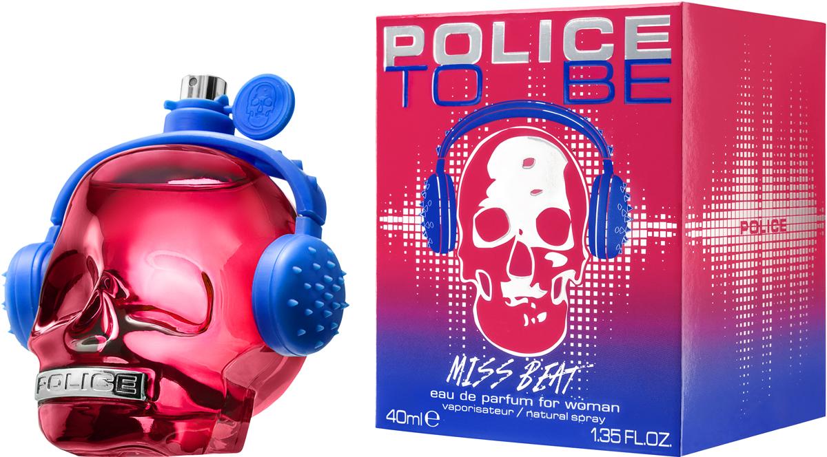 Police Парфюмерная вода To be Miss Beat, 40 мл1691242To Be Miss Beat - яркий, сочный, проникнутый духом молодости, энтузиазма и ритмов современной музыки, восточно-цветочный женский парфюм. Традиционно парфюм «одет» во флакон в виде черепа, но на этот раз он имеет красный цвет и украшен синими наушниками.
