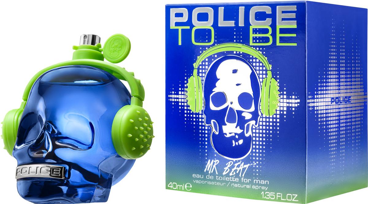 Police Туалетная вода To be Mr Beat, 40 мл1681242To Be Mr Beat - яркий, сочный и энергичный фужерно-ароматический мужской парфюм, выпущенный в начале 2017 года в рамках нового ароматического дуэта для нее и для него. Аромат проникнут энергетикой молодости и современных музыкальных ритмов. А оболочкой для него служит классический для бренда флакон в форме черепа. На этот раз он имеет синий цвет и украшен ярко-зелеными наушниками.