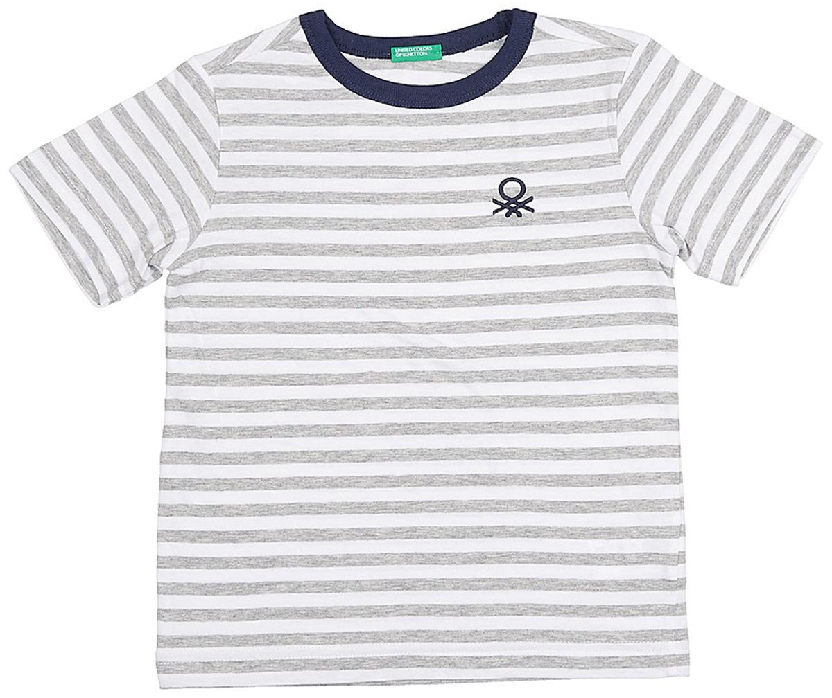 Футболка для мальчиков United Colors of Benetton, цвет: серый, белый, полоски. 3XB1C13H8_601. Размер 1103XB1C13H8_601