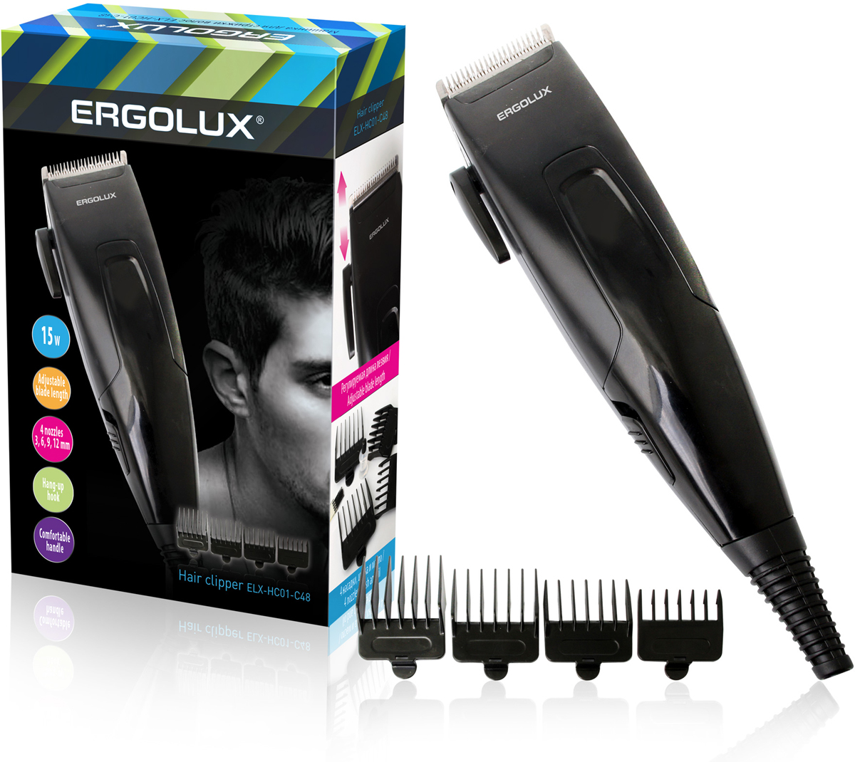 Ergolux ELX-HC01-C48, Black машинка для стрижки волосELX-HC01-C48Машинка для стрижки волос с регулируемой длиной лезвия и удобной рукояткой. Имеет петлю для подвеса. В комплекте: 4 насадки для разной длины волос 3, 6, 9, 12 мм, щетка для чистки, смазочное масло.