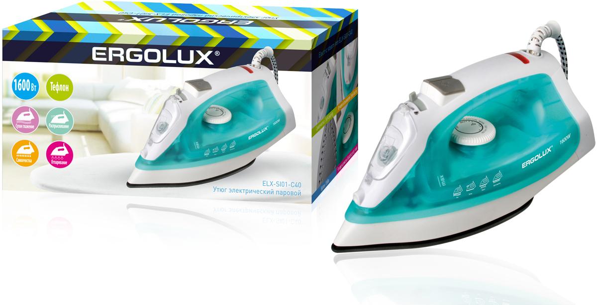 Ergolux ELX-SI01-C40, Aquamarine утюгELX-SI01-C40Утюг электрический паровой с тефлоновой антипригарной подошвой. Обеспечивает легкое разглаживание складок на любом типе ткани. Большое количество функций. Мерный стакан поставляется в комплекте.