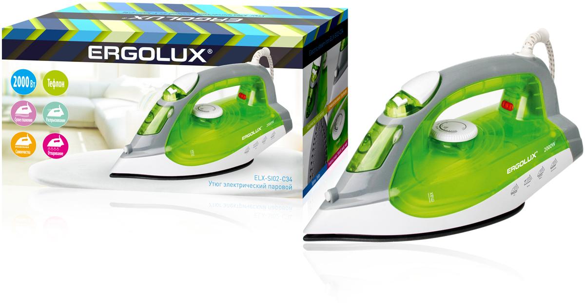 Ergolux ELX-SI02-C34, Green утюгELX-SI02-C34Утюг электрический паровой с тефлоновой антипригарной подошвой. Обеспечивает легкое разглаживание складок на любом типе ткани. Большое количество функций. Мерный стакан поставляется в комплекте.