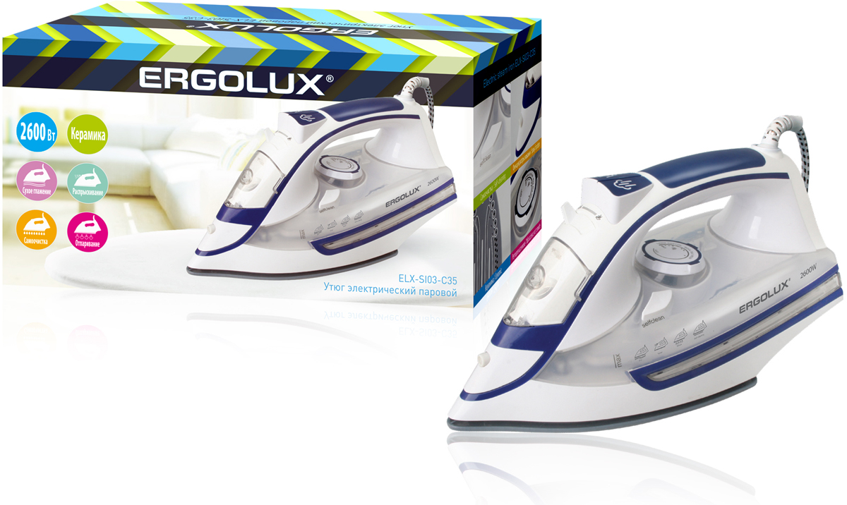 Ergolux ELX-SI03-C35, White Blue утюгELX-SI03-C35Утюг электрический паровой с керамической антипригарной подошвой. Обеспечивает легкое разглаживание складок на любом типе ткани. Большое количество функций. Мерный стакан поставляется в комплекте.