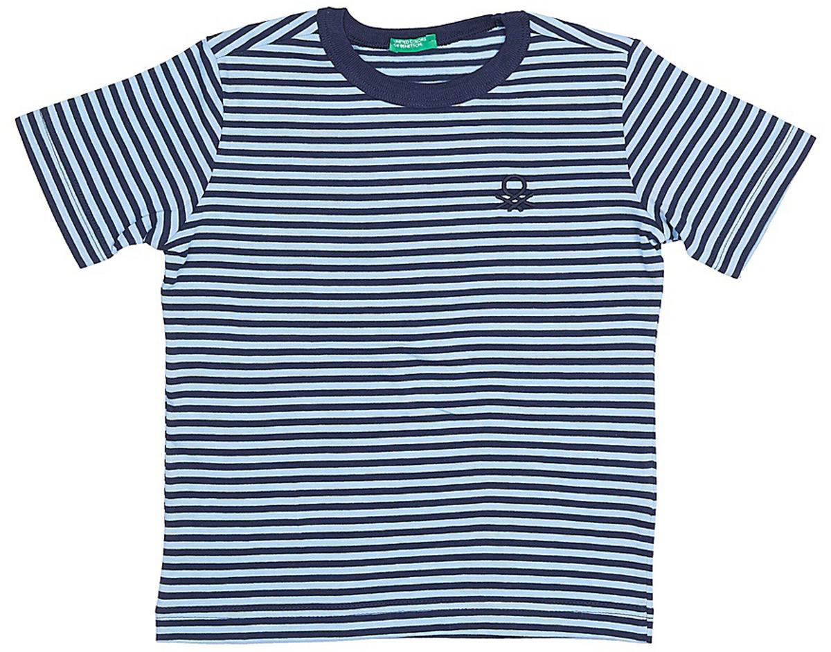 Футболка для мальчиков United Colors of Benetton, цвет: синий, голубой, полоски. 3XB1C13H8_606. Размер 1703XB1C13H8_606