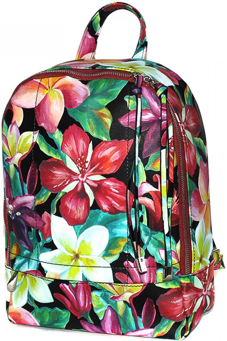 Рюкзак женский Adelia, цвет: мультиколор. 186082186082Женский рюкзак выполнен из искусственной кожи, имеет одно внутреннее отделение и один внешний карман на молнии.