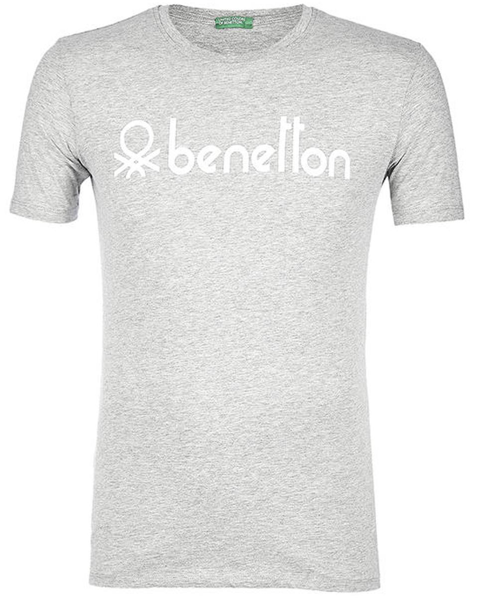 Футболка мужская United Colors of Benetton, цвет: серый. 3I1XJ1F08_501. Размер XXL (54/56)3I1XJ1F08_501Футболка от United Colors of Benetton выполнена из натурального хлопкового трикотажа. Модель с короткими рукавами и круглым вырезом горловины спереди оформлена брендированным принтом.