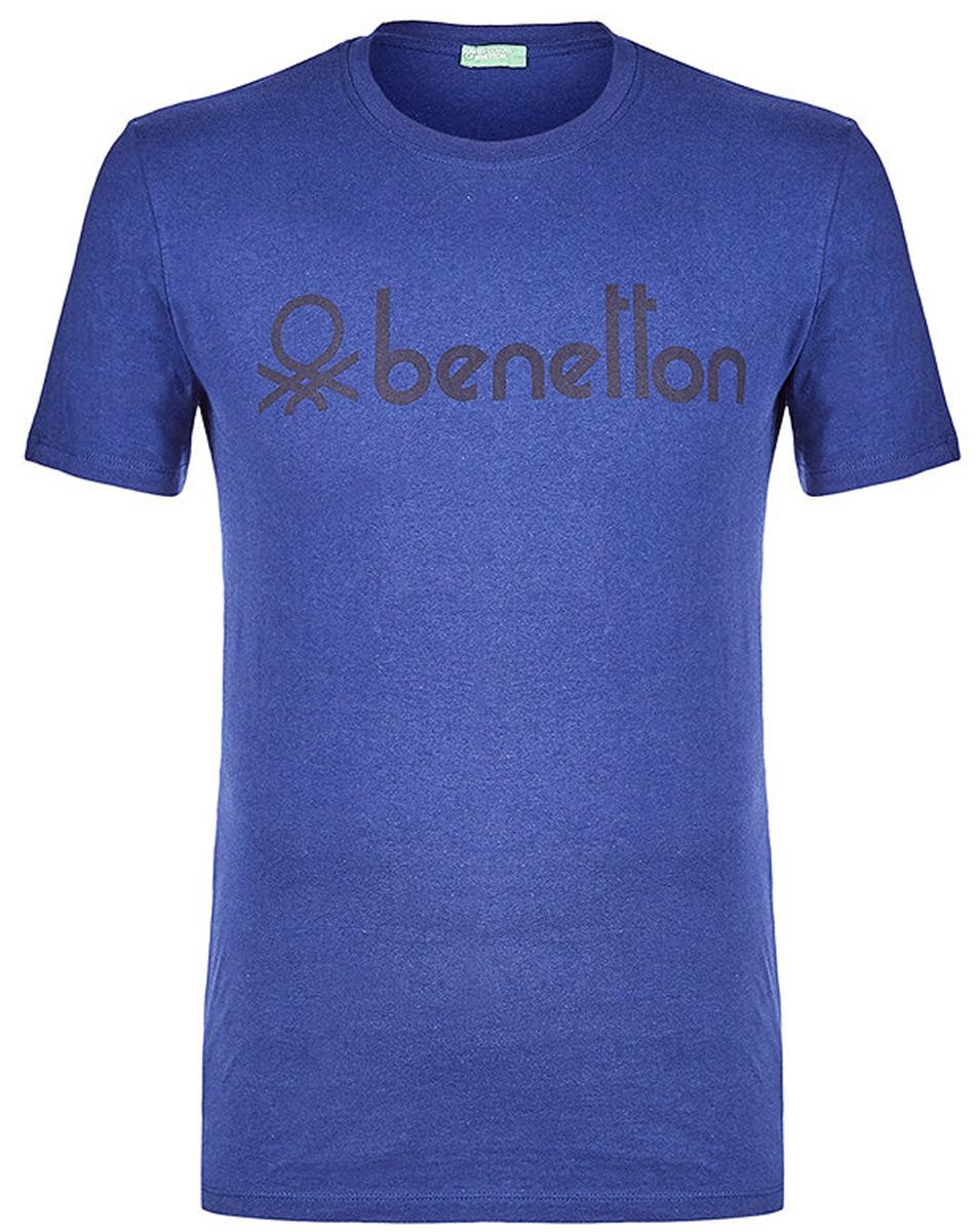 Футболка мужская United Colors of Benetton, цвет: синий. 3I1XJ1F08_1Z7. Размер L (50/52)3I1XJ1F08_1Z7Футболка от United Colors of Benetton выполнена из натурального хлопкового трикотажа. Модель с короткими рукавами и круглым вырезом горловины спереди оформлена брендированным принтом.