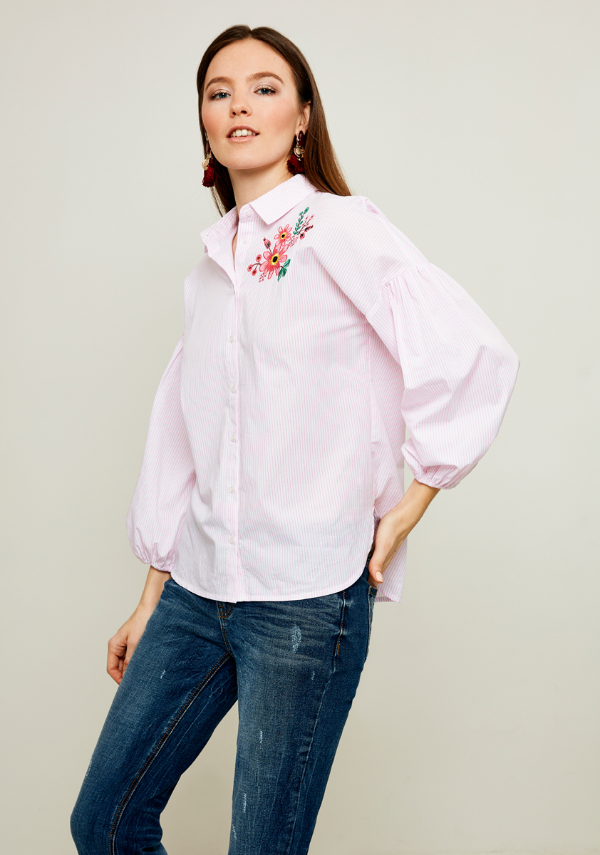 Блузка женская Zarina, цвет: розовый, белый. 8122090321066. Размер 42 блузка женская zarina цвет белый 8224086316001 размер 42