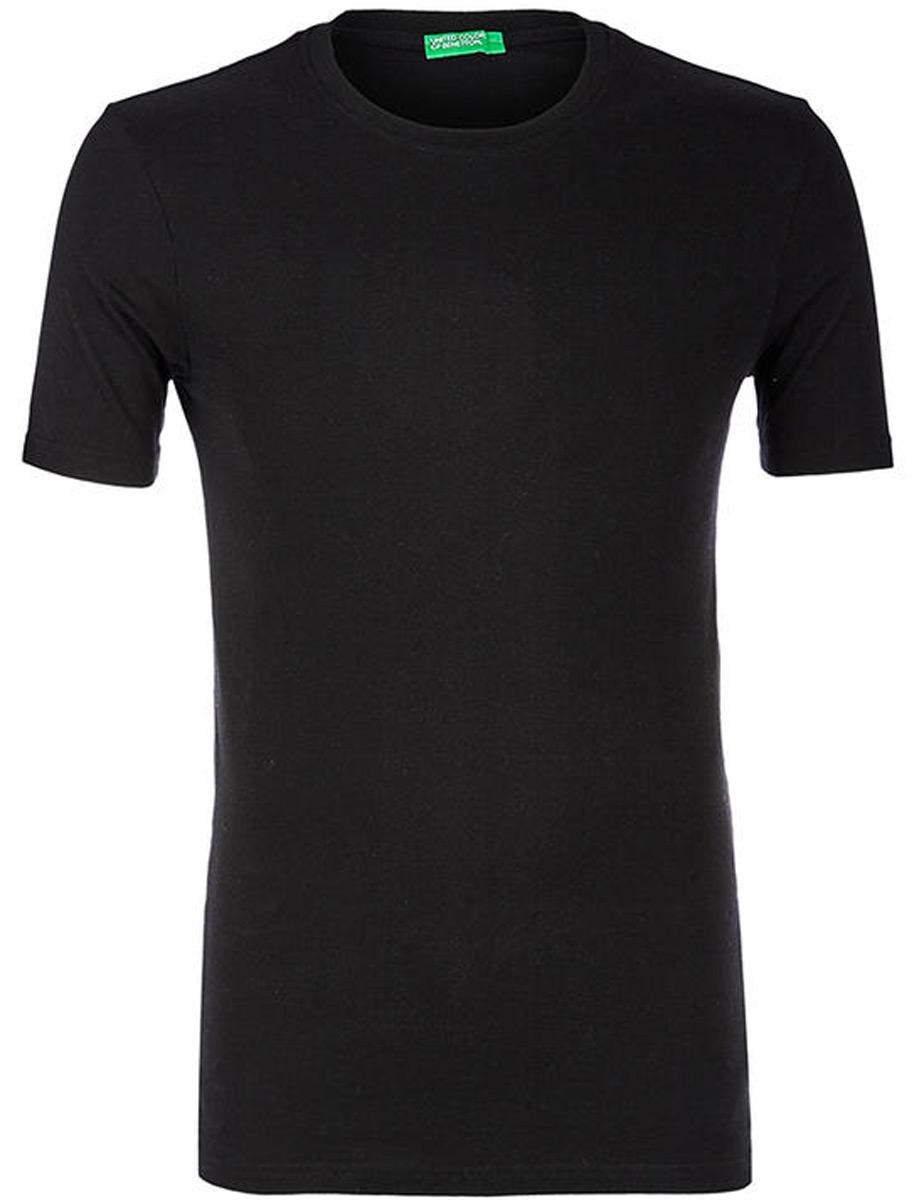 Купить Футболка мужская United Colors of Benetton, цвет: черный. 3U53J1F15_100. Размер XL (52/54)
