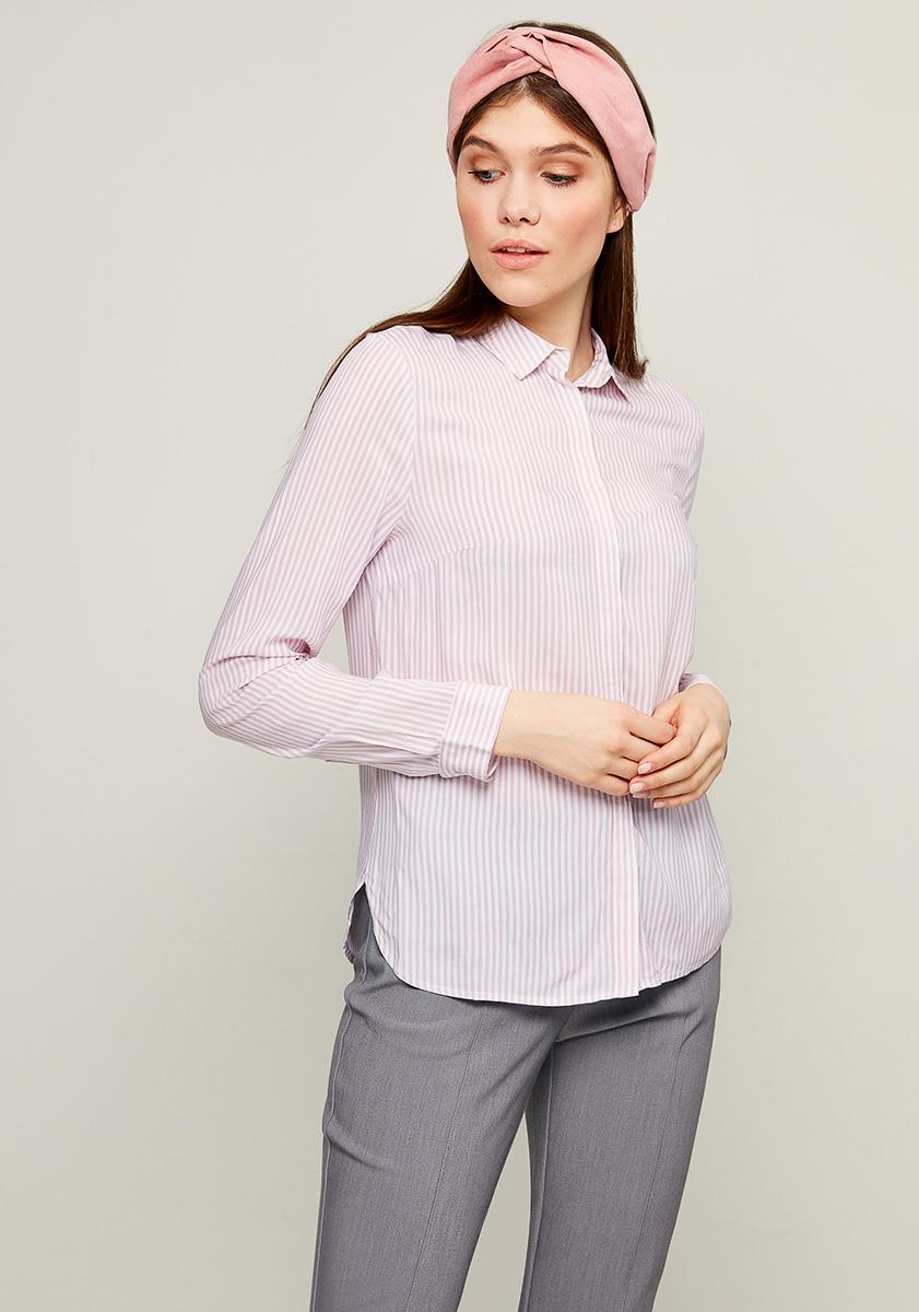 Блузка женская Zarina, цвет: белый, розовый. 8123079309098. Размер 488123079309098Блузка от Zarina выполнена из вискозного материала. Модель с длинными рукавами и отложным воротником застегивается на пуговицы.