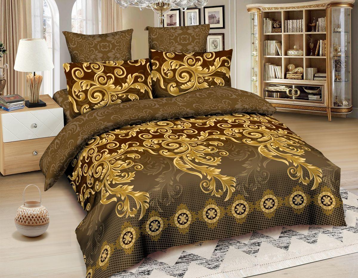 Комплект белья Amore Mio Fortaleza, 2-спальный, наволочки 70x70, цвет: коричневый amore mio постельное белье veselie 2 0 сп