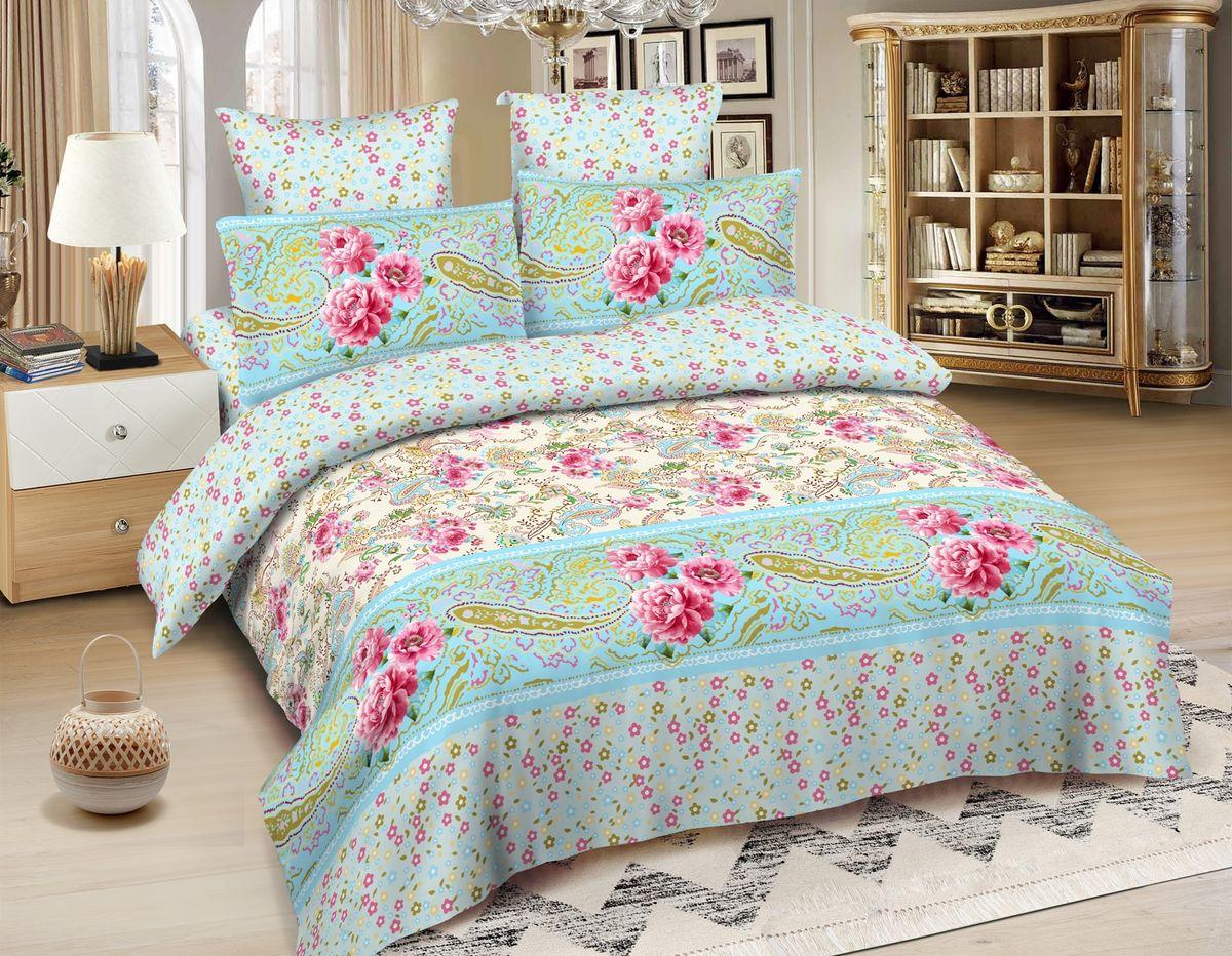 Комплект белья Amore Mio Gouda, 2-спальный, наволочки 70x70, цвет: голубой