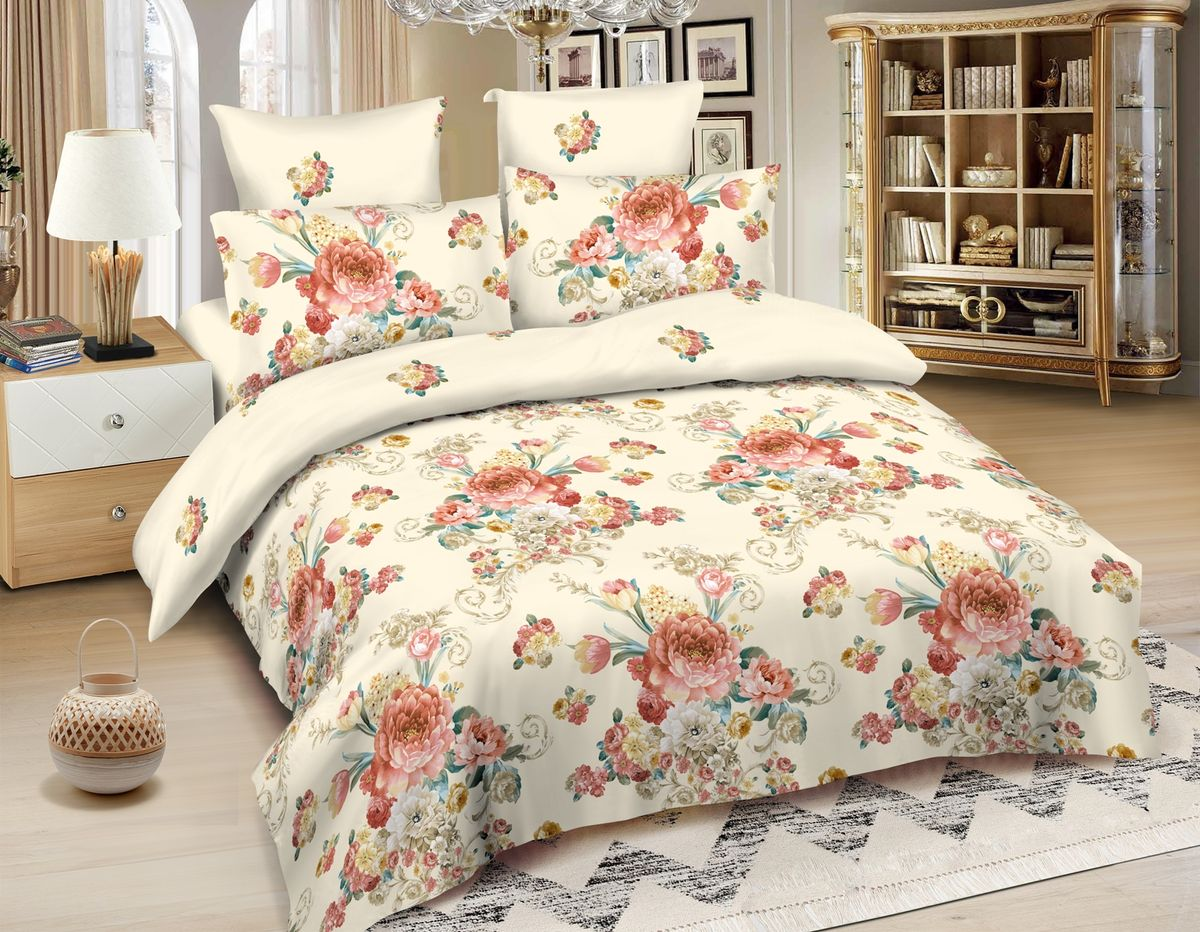 Комплект белья Amore Mio Bari, евро, наволочки 70x70, цвет: бежевый комплект белья amore mio bangkok евро наволочки 70x70