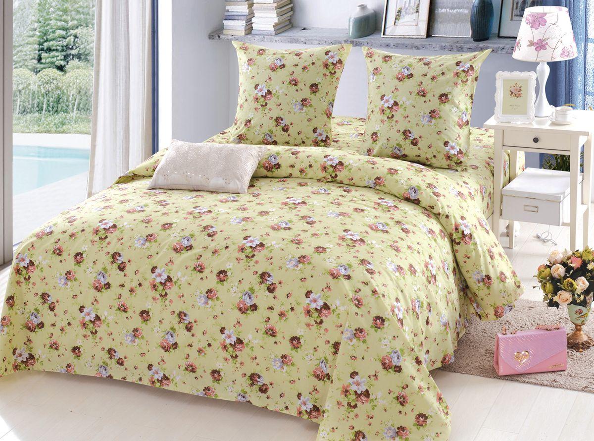 Комплект белья Amore Mio Stella, 1,5-спальный, наволочки 70x70, цвет: бежевый