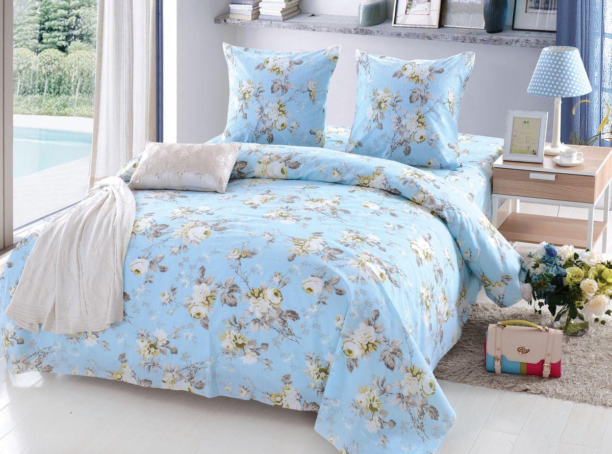 Комплект белья Amore Mio Sheila, 1,5-спальный, наволочки 70x70, цвет: голубой