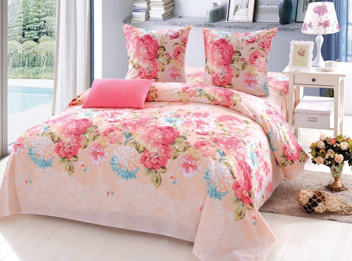 Комплект белья Amore Mio Phyllis, 2-спальный, наволочки 70x70, цвет: светло-розовый jewel neck sleeveless floral print a line belted dress