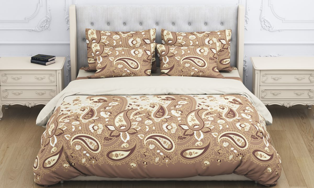 Комплект белья Amore Mio Paysle, 2-спальный, наволочки 70x70, цвет: коричневый