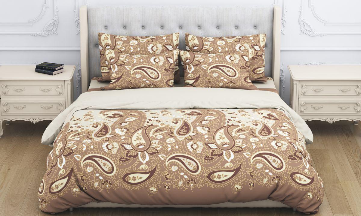 Комплект белья Amore Mio Paysle, евро, наволочки 70x70, цвет: коричневый