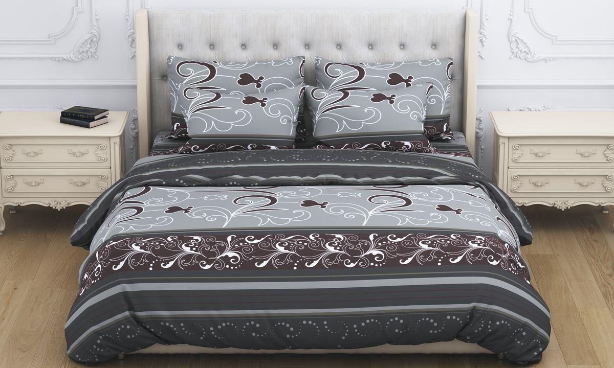 Комплект белья Amore Mio Atyd, 2-спальный, наволочки 70x70, цвет: коричневый