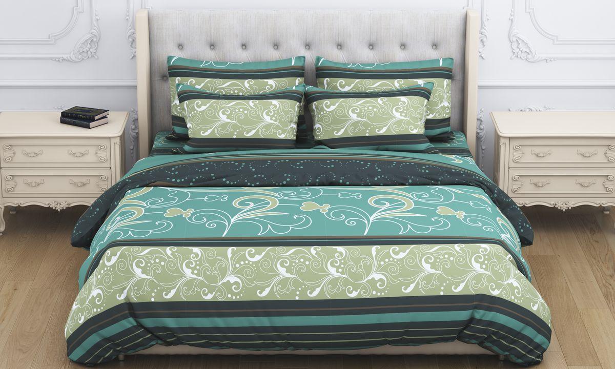 Комплект белья Amore Mio Atyd, 2-спальный, наволочки 70x70, цвет: зеленый постельное белье amore mio bz tabriz комплект 1 5 спальный сатин 86487