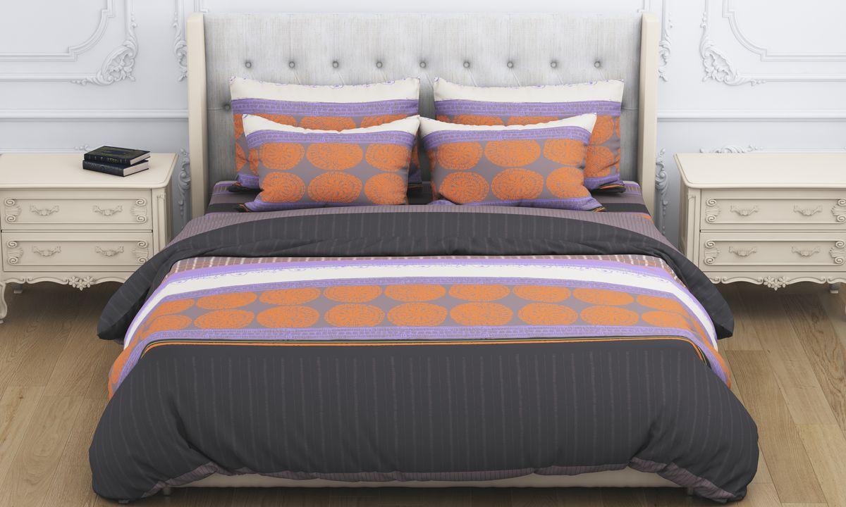 Комплект белья Amore Mio Arfa, 1,5-спальный, наволочки 70x70, цвет: коричневый наволочка sgmedical шампань цвет светло бежевый 70 х 70 см