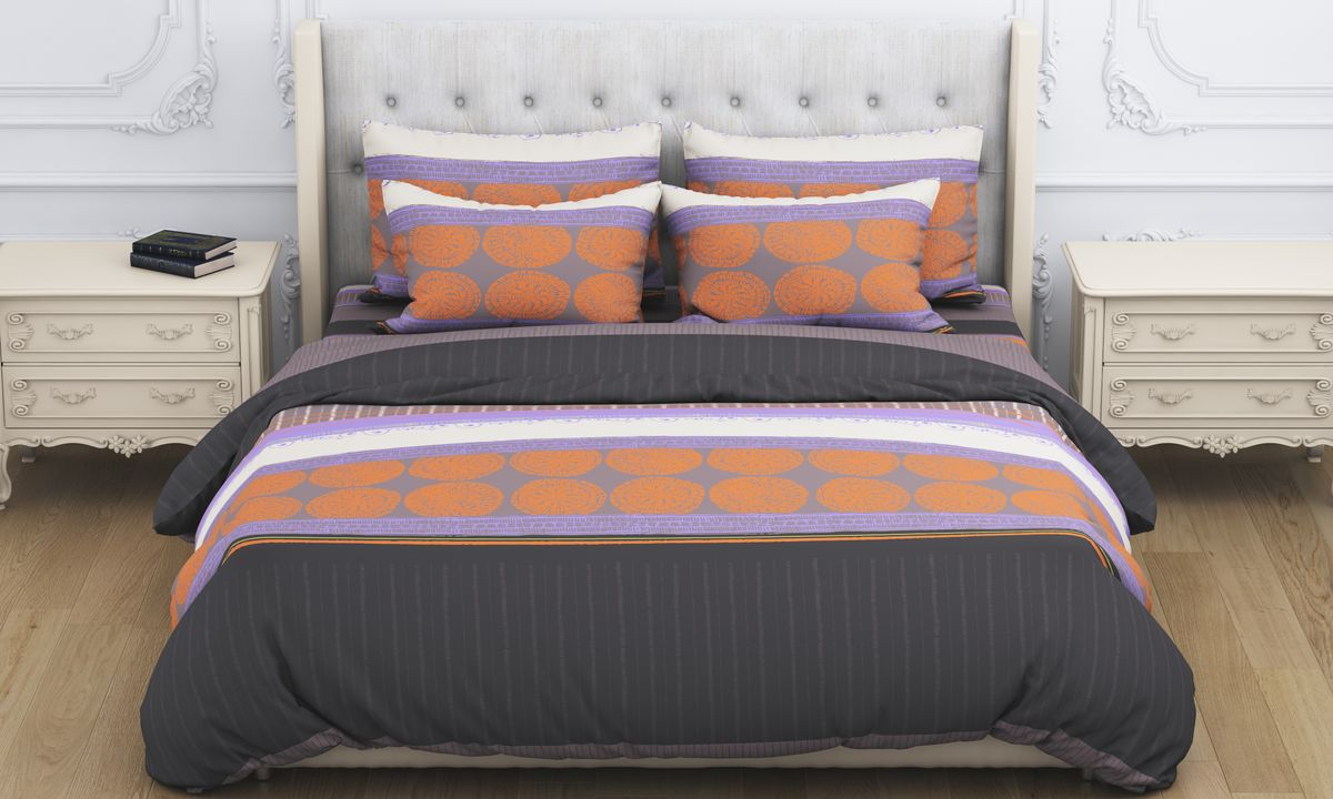 Комплект белья Amore Mio Arfa, 2-спальный, наволочки 70x70, цвет: коричневый