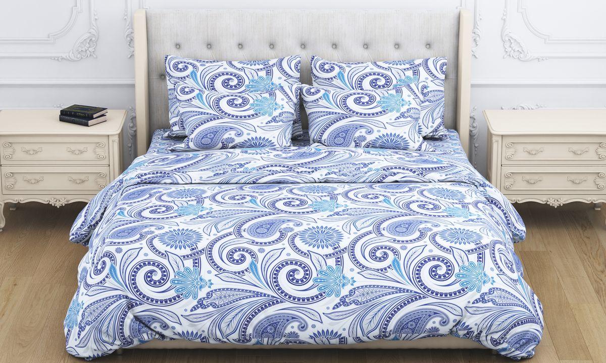 Комплект белья Amore Mio Shafran, 2-спальный, наволочки 70x70, цвет: синий