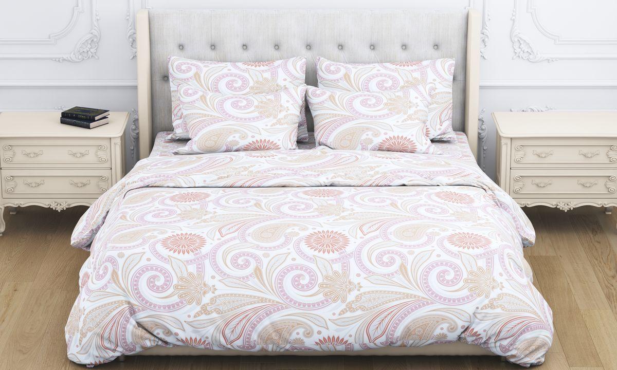 Комплект белья Amore Mio Shafran, евро, наволочки 70x70, цвет: бежевый