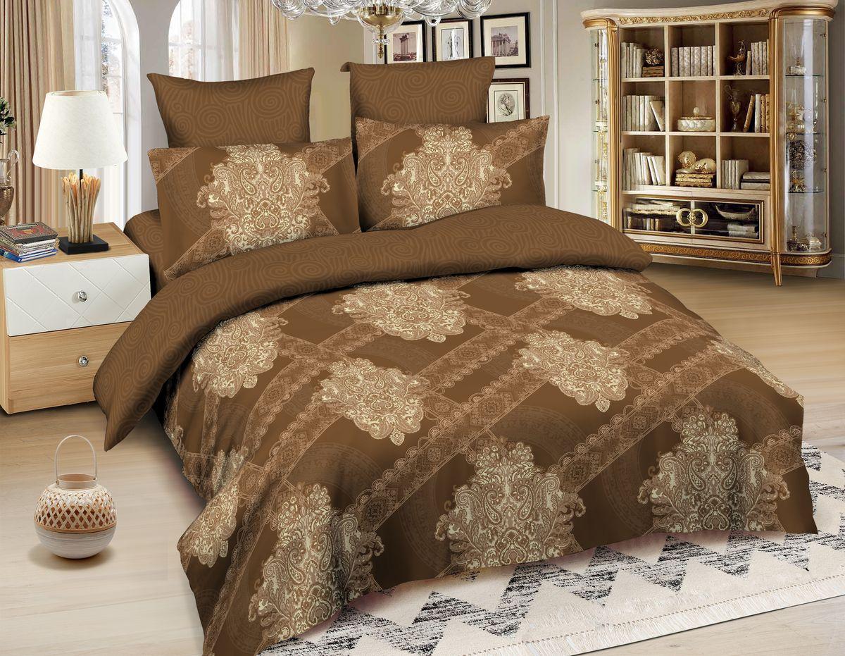 Комплект белья Amore Mio Havana, 1,5-спальный, наволочки 70x70, цвет: коричневый