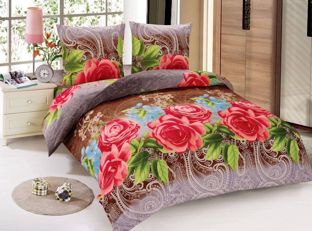 Комплект белья Amore Mio Muza, 2-спальный, наволочки 70x70, цвет: коричневый